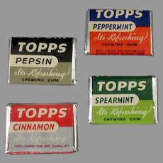 Vintage Topps Chewing Gum Tabs - 4 Pieces in Different Flavors – 1940's