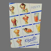 Vintage Clewell's Restaurant Soda Fountain Menu Cover with Lots of Ice Cream Treats