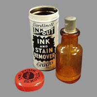 Vintage Cardinell Ink Out Tin with the Original Amber Bottle