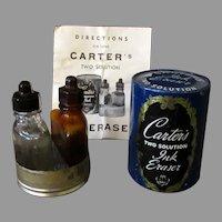 Vintage Carter's Ink Eraser - 2 Bottle Solution Style with Original Tin