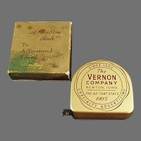 Vintage Vernon Co. Advertising Steel Tape Measure with Original Box