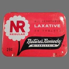 Vintage Nature's Remedy Medicine Tin - NR Regular Laxative Medical Advertising