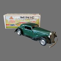 Vintage Tri-ang Minic Vauxhall Cabriolet 19M, Tin Wind-Up Toy Car with Box