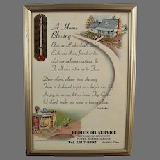 1957 Home Blessing Prayer - Vintage Motto with Calendar on Back