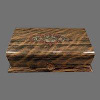 Vintage Masculine Dresser Box – Faux Wood Grain Celluloid Vanity Case