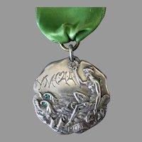 Vintage 1903 Sterling Silver Sports Medal with Sea Nymph – Y.M.C.A.A. 75yd Swim