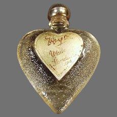 Vintage Sample White Shoulder Perfume Bottle - Little Heart with Original Label