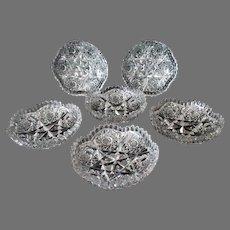 6 Vintage Birks Signed CBP Canadian Brilliant Period Cut Glass Berry Bowls