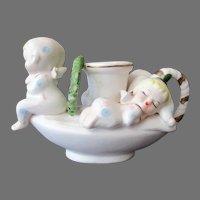 Vintage Christmas Candleholder with Sleepy Little Angels - Napco Ceramics