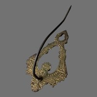 Vintage Cast Iron Wall Mount Bill Hook with Deco Design for Home or Office