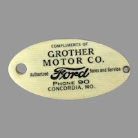 Vintage Celluloid Automobile ID Tag with Ford Logo Advertising on Both Sides