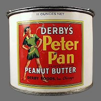 Vintage Peter Pan Peanut Butter Tin and Advertising Pry Key - Derby Foods Company