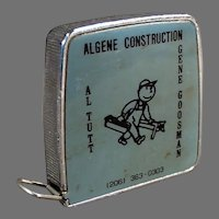 """Vintage 1/4"""" & 1/8"""" Scale Steel Tape Measure with Algene Construction Advertising"""