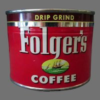 Vintage Folger's 1/2# Key Wind Coffee Tin – 1952 Half Pounder