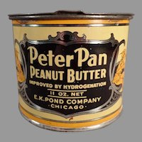 Vintage E.K. Pond Peter Pan Peanut Butter Tin with Lid with Nice Graphics
