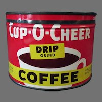 Vintage 1#  Key Wind Cup-O-Cheer Coffee Tin Advertising - Kroger Company