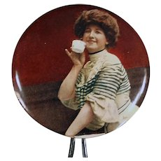 Vintage Celluloid Mirror - Hand Held Mirror with Victorian Woman Sipping Tea