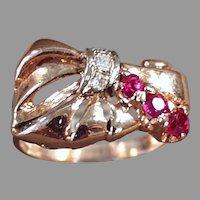 Ladies Vintage 14k Rose Gold Retro Cocktail Ring -  Rubies & Diamonds