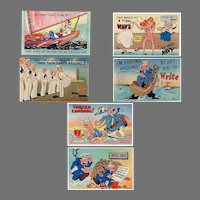 Six (6) Fun Vintage Postcards with Colorful Navy Spoofs - Unused