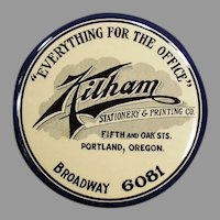 Large Vintage Celluloid Mirror, Advertising Paperweight - Kilham's of Portland Oregon
