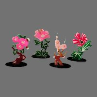 Vintage Floral Celluloid Place Card Holders - Set with Four Different Flowers