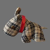 Vintage Dog Tape Measure Pincushion - Plaid Scotty Sewing Accessory