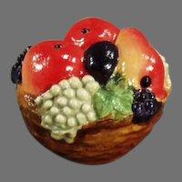 Vintage Celluloid Tape Measure - Colorful Little Fruit Basket with Vivid Colors
