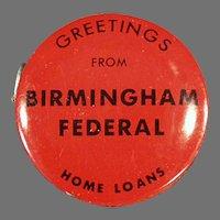 Vintage Advertising Tape Measure - Birmingham Federal Savings and Loan Bank