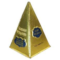 Unusual Antique Golden Pyramid Steel Phonograph Needle Tin