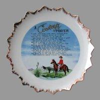 Vintage, A Cowboy's Prayer Poem Hanging Plate