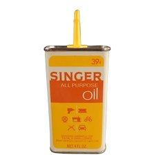 Vintage Singer All Purpose Sewing Machine Oil Tin - Unusual Yellow & Orange Combination