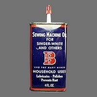 Vintage Oil Tin-  Bega Sewing Machine & Household Oil Advertising Tin