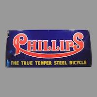 Large Vintage Porcelain Advertising Sign for Phillips Steel Bicycles