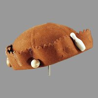 Vintage Felt Skull Cap Beanie with Original Bead Ornament, for Charms or Pinback Pins