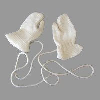 Vintage Knit Baby Mittens with Attached Knit Cord