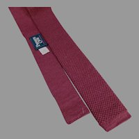 Vintage Private Club Tie - Narrow Wool Knit, Square Bottom Necktie