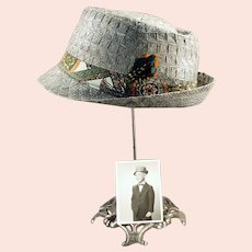 Boy's Vintage Woven Straw Fedora Hat with a Old Photo of Original Owner