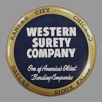 Large Vintage Celluloid Paperweight Mirror Advertising Western Surety