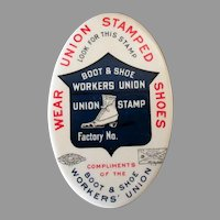 Vintage Celluloid Advertising Pocket Mirror - Boot and Shoe Worker's Union