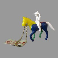 Vintage Plastic Puzzle Key Chain – Colorful Cowboy & Horse with Instructions