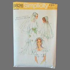 Vintage Simplicity Pattern –1971  #9826 Bridal Headpieces and Veils