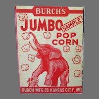 Vintage Sample Popcorn Box - Burch's Best Popcorn with Jumbo the Elephant