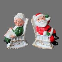 Vintage Salt and Pepper, Santa & Mrs. Claus in Rocking Chairs Salt & Pepper
