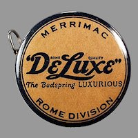 Vintage Celluloid Advertising Tape Measure for Merrimac DeLuxe Bedsprings with Nice Graphics