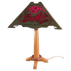 Vintage Atlantic and Pacific Shoes Advertising Table Lamp - Delicate Original Paper Shade