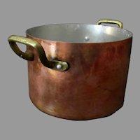Vintage French Centuria Baumlin Copper Pot - Brass Handles