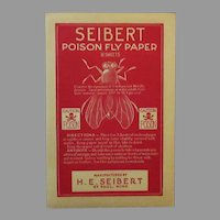 Vintage Seibert Poison Fly Paper Package with Great Big Fly Graphics