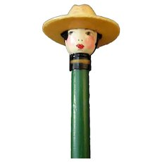 Vintage Novelty Pencil with Cute, Celluloid Doll Head with Cowboy Hat