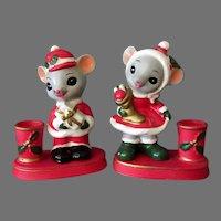 Vintage Christmas Mice Candleholders - Mr and Mrs. Santa Mouse - Napcoware