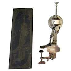 Antique Sewing Machine - The Moldacot Patent with Original Tin Box